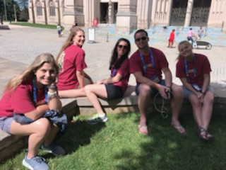Students and chaperones chilling on the lawn of the Cathedral